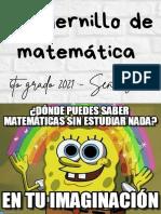 Cuadernillo de matematica de 6to 2021 con caratula e indice