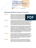 A Meaning-Oriented Model of Language for the Classroom