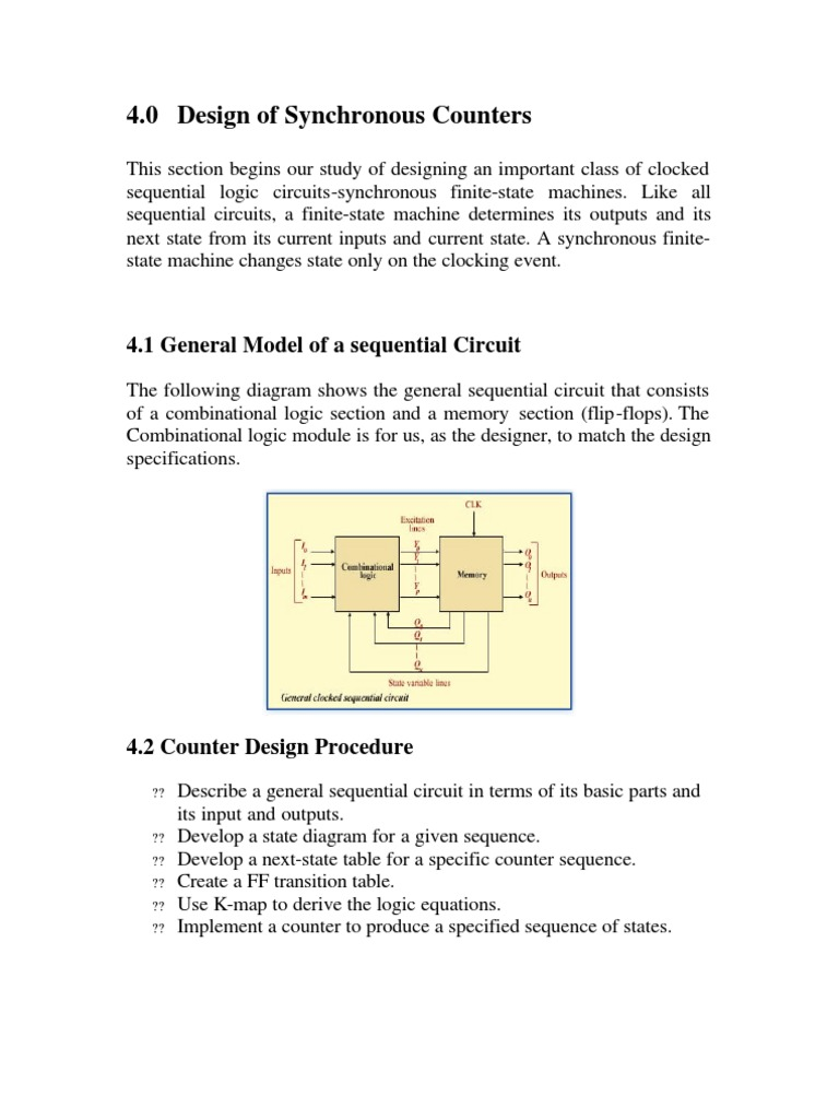 Synchronous Counters Electronic Design Circuits Finite State Machines Sequential Electronics Textbook