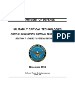 DEPARTMENT OF DEFENSE MILITARILY CRITICAL TECHNOLOGIES