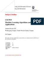 CSCI933 Machine Learning Algotithms and Applications