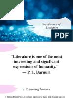 Lesson 1- Significance of  Literature