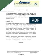 CERTIFICADO DE TRABAJO 2019
