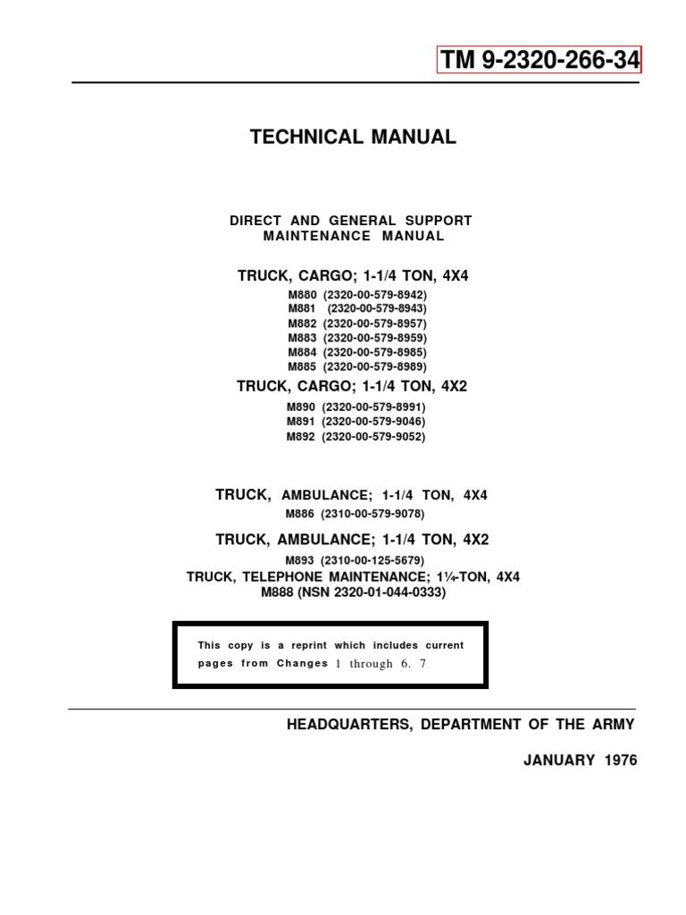 1549988317?v=1 army tm 9 2320 266 24 mantainance manual dodge m880 1 ¼ ton 4x4