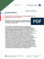 Paul Ehrlich-Institut (PEI) - Bericht über Verdachtsfälle von Nebenwirkungen und Impfkomplikationen nach Impfung zum Schutz vor COVID-19 (Berichtszeitraum 27.12. bis 24.01.2021)