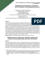 Evidências de Validade para Instrumentos de Atenção e Funções Executivas e Relação com Desempenho Escolar