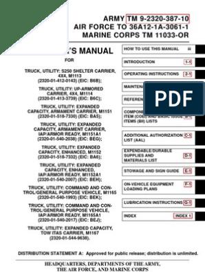 ARMY TM 9-2320-387-10 Op Manual UpArmor HumVee Jun09 | Humvee | Seat M A Wiring Diagram on
