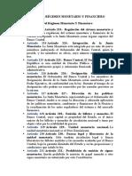 DEL RÉGIMEN MONETARIO Y FINANCIERO (analisis de los articulos constitucionales)