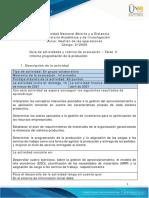 Guía de Actividades y Rúbrica de Evaluación - Unidad 2 - Tarea 3 - Informe Programación de La Producción
