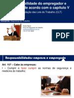 Aula 00000 - Responsabilidade do empregador e empregado de acordo com o capítulo V da CLT