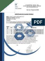 CERTIFICADO DE CALIDAD - U-PERU LIVING CONDITIONS S.A.C.