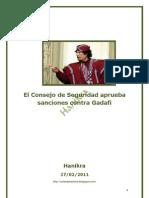 El Consejo de Seguridad aprueba sanciones contra Gadafi