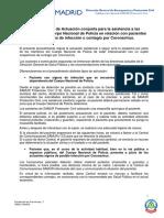 COVID-19 · Procedimiento de Actuación conjunta para la asistencia a las demandas del Cuerpo Nacional de Policía en relación con pacientes sospechosos de infección o contagio por Coronavirus