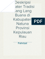 Deskripsi Teater Tradisi Lang Lang Buana di Kabupaten Natuna Provinsi Kepulauan Riau