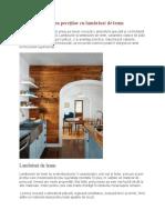 Placarea pereților cu lambriuri de lemn