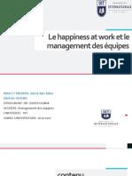 le Happiness at work et le management des équipes