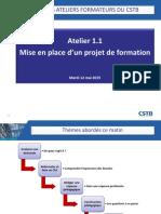Atelier 1. 1 PRESENTATION MISE EN PLACE D UN PROJET FORMATION