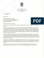 Gov. Gina Raimondo's letter of resignation.