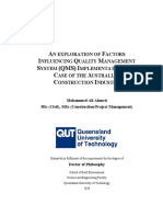 0D- An Exploration of Factors Influencing Quality Management System (QMS) Implementation the Case of the Australian Construction Industry