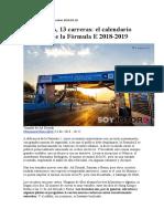 Formula E-Calendario y circuitos 2019