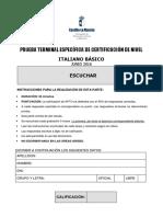 Italiano Básico-A2. Comprensión oral. Prueba