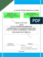 Evaluation d'Une Mission de Commissariat Aux Comptes Effectuee Par Un Cabinet d'Expertise Comptable Era Baker Tilly Senegal