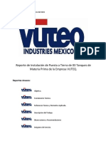 Reporte de Instalación de Tierra Fisica en Tanques en La Empresa VUTEQ