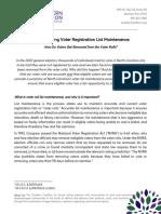 Understanding Voter Registration List Maintenance