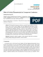 Films of carbon nanomaterials for transparent conductors