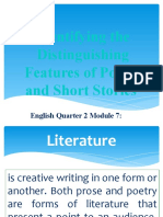 Identifying the Distinguishing Features of Poems and Short Stories