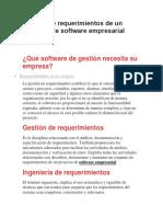 Gestión de requerimientos de un proyecto de software empresarial