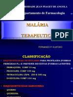 Terapéutica TRATAMENTO DA MALÁRIA ACTUAL MINSA