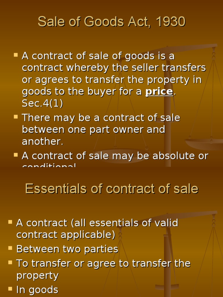 Sale of goods act 1930 property prices for On the property sale prices