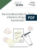 Aulaaovivo-Redacao-exercicios-gerais-de-escrita-coesao-e-coerencia-paragrafo-e-argumentacao-20-12-2016-1