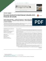 Encuesta Nacional de Salud Mental Colombia 2015. Protocolo del estudio