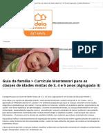 Currículo Montessori para as classes de idades mistas de 3, 4 e 5 anos (Agrupada II) _ Aldeia Montessori