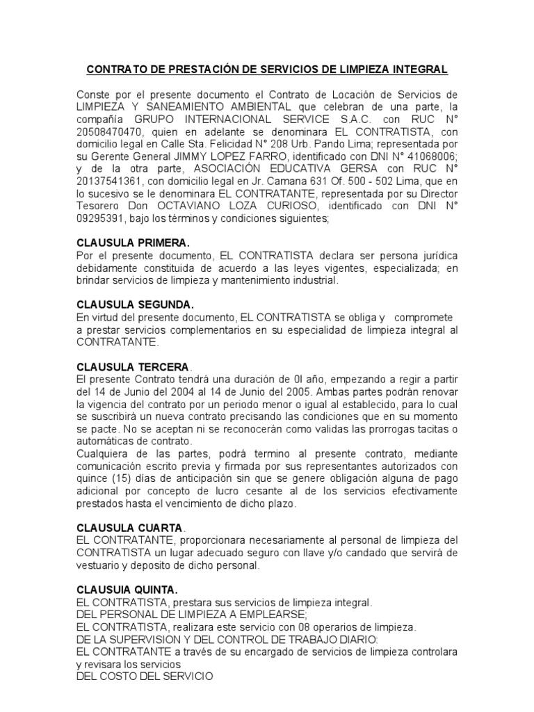Modelo de contratos de limpieza for Modelo contrato laboral