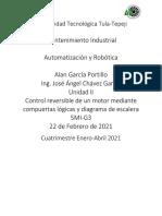 Control reversible de un motor mediante compuertas lógicas y diagrama de escalera