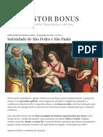 Solenidade de São Pedro e São Paulo – Pastor Bonus