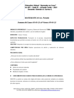 Matemáticas - 1er. P. - Semana Del 01-03 Al 05-03