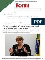 """""""Nova previdência""""_ a mentira como modo de governar, por Erika Kokay _ Revista Fórum"""