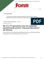 Na CCJ, PT Apresenta Voto Em Separado Questionando Pontos _não Previdenciários_ Da Reforma _ Revista Fórum