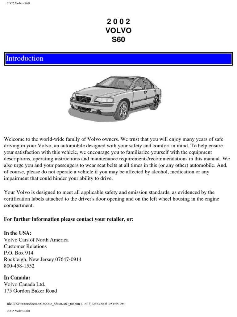 Volvo S60 Owners Manual 2002