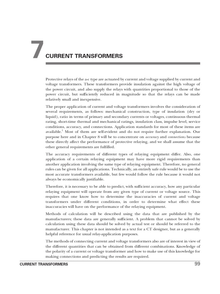 Ct Transformer Electrical Impedance Current In Relay