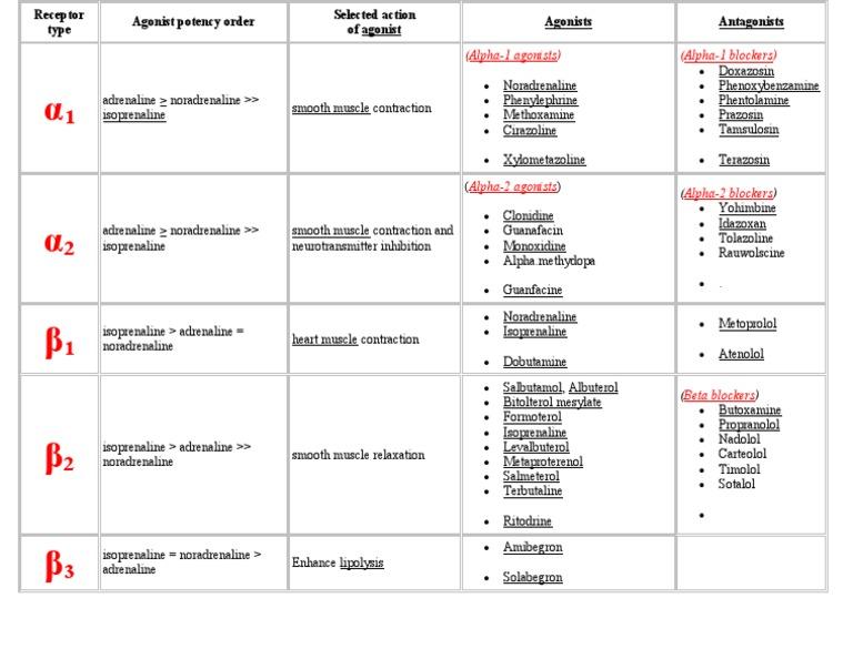 adrenergic receptor chart, Skeleton