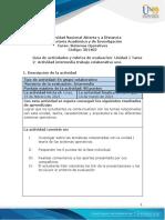 Guia de actividades y Rúbrica de evaluación- Unidad 1 - Tarea 2 - Trabajo colaborativo uno