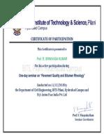 Certificate to Prof. Srinivasa Kumar OU