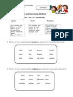 Guía Lenguaje 4to 1 a 5 de Junio. Clasificación de Palabras