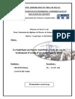 La logistique portuaire maritime, étude de cas de traitement d'escale d'un navire par la BMT