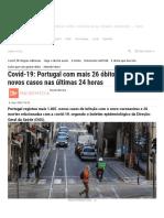 Covid-19_ Portugal com mais 26 óbitos
